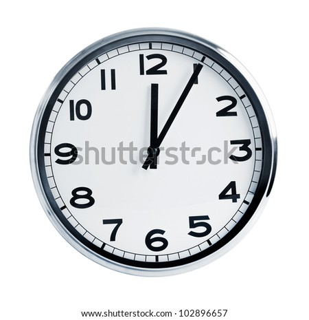 Quartz wall clock on a white background - stock photo