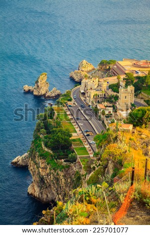 quayside of the town Taormina in Sicily, Italy - stock photo