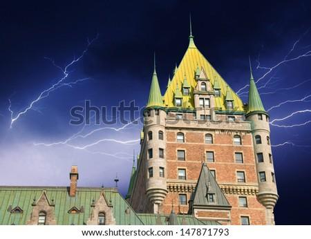 Quebec City Castle, Canada. Beautiful sky over Chateau de Frontenac. - stock photo