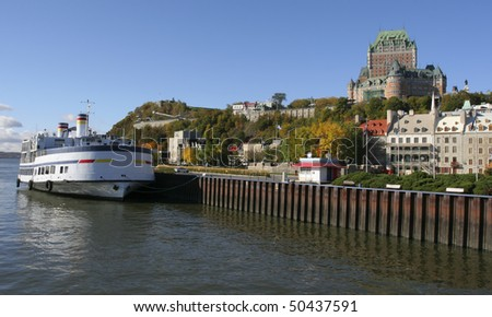 Quebec City, Chateau Frontenac and Saint Lawrence River - stock photo
