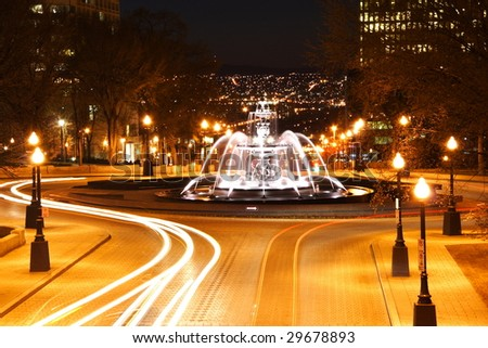 Quebec City night scene in downtown. The fountain is Fontaine de Tourny. Long exposure. - stock photo