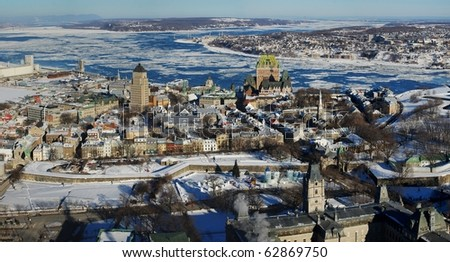 Quebec City Panorama view from Observatoire de la Capitale - stock photo