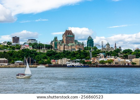 Quebec City, Quebec, Canada-July-1-2012 View of the Old City of Quebec, view to the City of L�©vis Quebec during the renovations of the Frontenac Castle (Chateau Frontenac) in french.  - stock photo