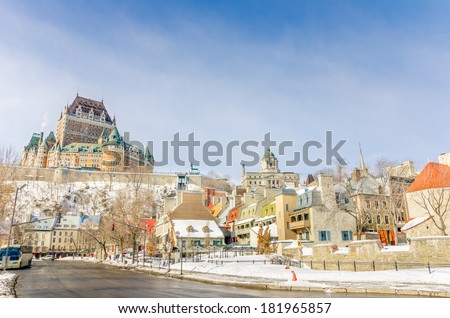 Quebec City Skyline on a Clear Winter Day - stock photo