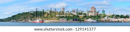 Quebec City skyline panorama over river with blue sky and cloud. - stock photo