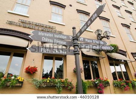 Quebec Lower City signs - stock photo