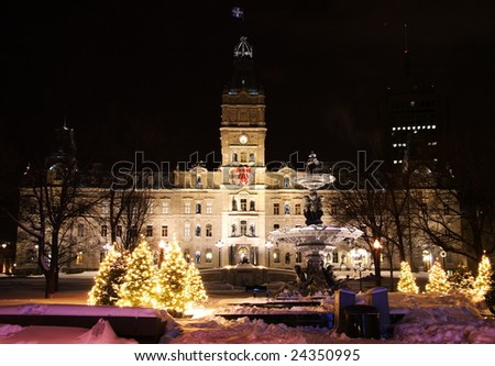 Quebec parliament building (Hotel du Parlement) in winter Quebec city. - stock photo