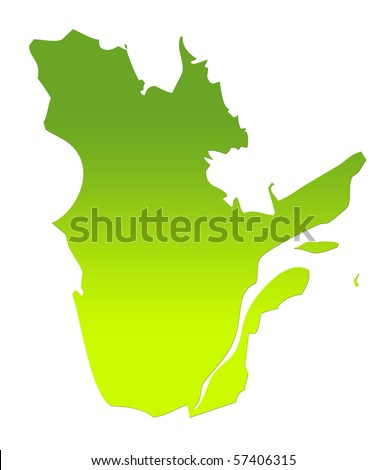 Quebec province of Canada map in gradient green, isolated on white background. - stock photo