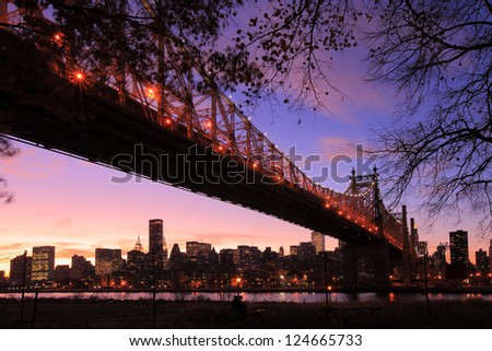 Queen Bridge, New York skyline - stock photo