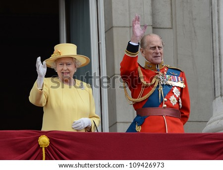 Queen Elizabeth II and Duke of Edinburgh attend the Trooping Of The Colour at Horse Guards Parade, London, UK. June 16, 2012, Picture: Catchlight Media / Featureflash - stock photo