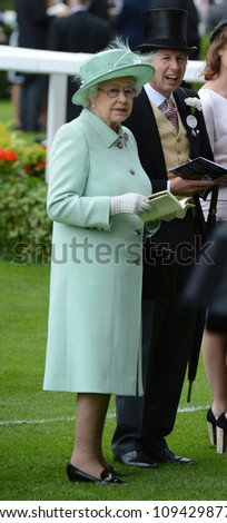 Queen Elizabeth II attends Ladies Day at the annual Royal Ascot horse racing event. Ascot, UK. June 21, 2012, Ascot, UK Picture: Catchlight Media / Featureflash - stock photo