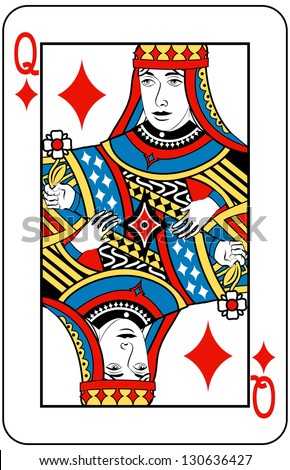 Queen of Diamonds playing card - stock photo