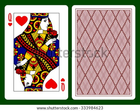 Queen of Hearts playing card and the backside background. Faces double sized. Original design - stock photo
