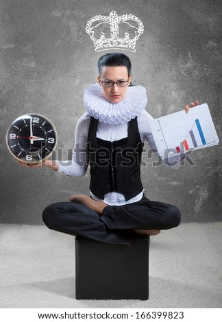Queen of office. Business lady in ruff collar with a clock, a graph and a pictured crown - stock photo