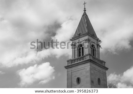 Queen Of The Holy Rosary Memorial Church bell tower in LaSalle, Illinois. - stock photo