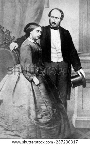 Queen Victoria (1819- 1901) and Prince Albert (1819- 1861), Queen Victoria ruled Great Britain from 1837- 1901, Picture: 1840 - stock photo