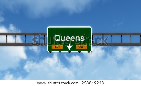 Queens USA Highway Exit Only Road Sign 3D Illustration - stock photo