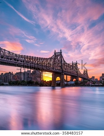 Queensboro bridge at sunrise - stock photo
