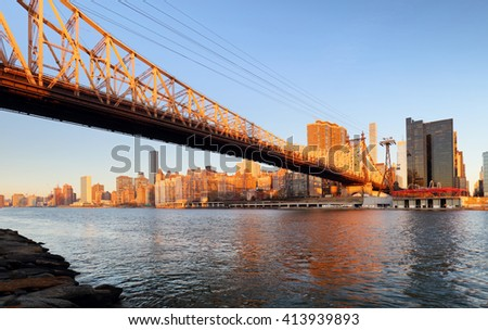 Queensboro bridge - Uptown, New York City - stock photo