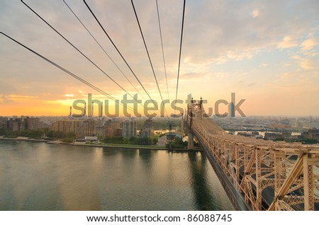 Queensboro Bridge Viewed from a cablecar in New York City. - stock photo