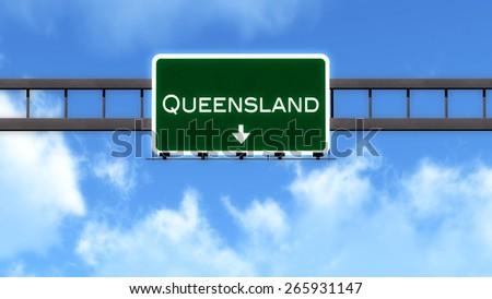 Queensland Australia Highway Road Sign - stock photo