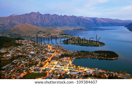 Queenstown downtown aerial view New Zealand at Dusk - stock photo