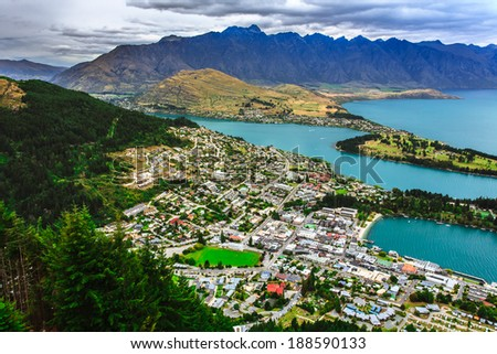 Queenstown downtown skyline with lake Wakatipu from top, New Zealand - stock photo