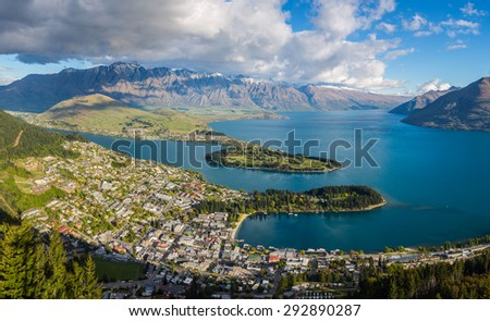 Queenstown is a resort town in Otago in the south-west of New Zealand's South Island. It is very famous for its outstanding view and be considering as The 'Adventure Capital of the World' - stock photo