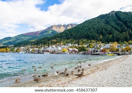 Queenstown,New Zealand - April 26,2016 : Lake Wakatipu which is located in Queenstown, New Zealand. - stock photo