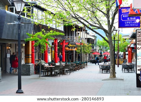 QUEENSTOWN, NZ - Nov18:Queenstown Mall on Nov18 2014.It's one of the most popular travel destination in New Zealand known for it's restaurants, ski tourism and extreme sport adventure. - stock photo