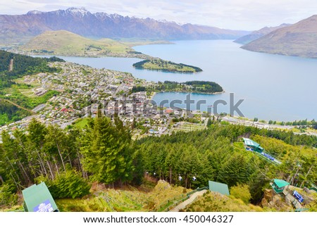 QUEENSTOWN, NZ - NOV 17:Visitors in Queenstown on Nov 17 2014.It's one of the most popular travel destination in New Zealand known for it's restaurants, ski tourism and extreme sport adventure - stock photo