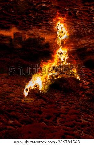 Queimada do Judas, Burn the Devil - stock photo