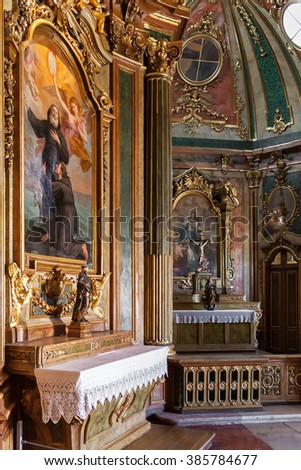 Queluz, Portugal. Baroque chapel in the Queluz National Palace, Portugal. Formerly used as the Summer residence by the Portuguese royal family. - stock photo