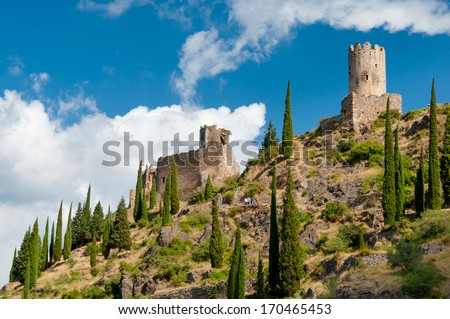 Quertinheux and Surdespine towers at Lastours in France - stock photo