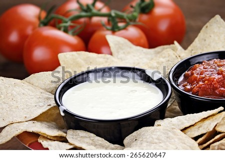 Queso Blanco or White Cheese Sauce with corn tortilla chips, salsa and fresh tomatoes. Shallow depth of field with selective focus on cheese dip. - stock photo
