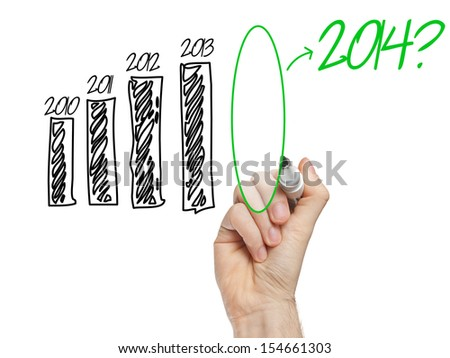 Question about 2014 on graph on whiteboard isolated - stock photo