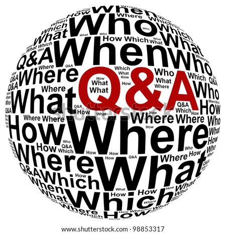 Question and answer info text graphic and arrangement concept on white background - stock photo