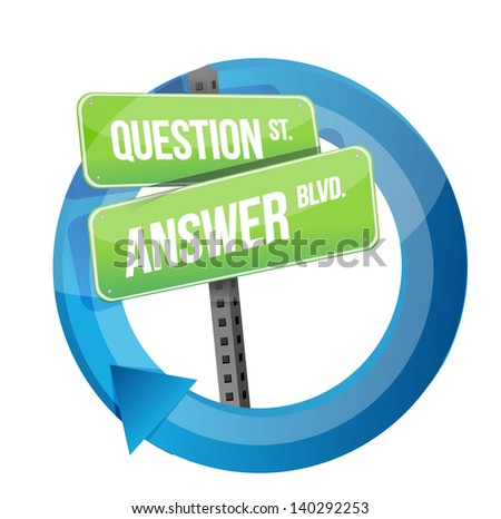 question and answer road sign cycle illustration design over white - stock photo