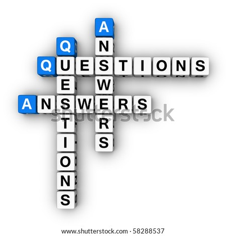 Question and Answers  (blue-white cubes crossword series) - stock photo