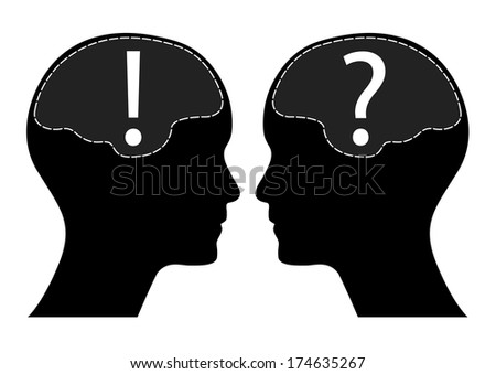 Question and exclamation mark with human head and brain, raster version. - stock photo
