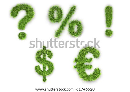 Question, Exclamation, Percent, dollar, euro sign made of green grass - stock photo
