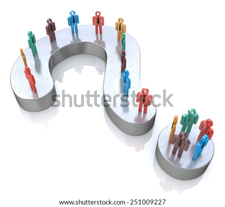Question Mark and colorful 3d people - stock photo