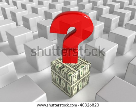 question mark and dollars box - stock photo