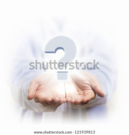 Question mark and human hands. Concept illustration. - stock photo