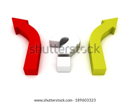 question mark and two arrows different direction choice. business concept 3d rencer illustration - stock photo