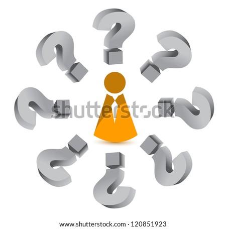question mark around an icon illustration design over white - stock photo