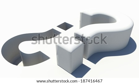question mark - ask question - imprint - 3d printing - print - vise versa - stock photo