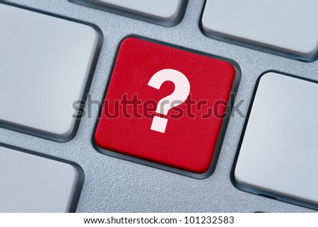 Question mark at the computer key - stock photo