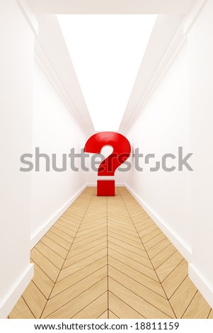 Question  mark at the end of a corridor - stock photo