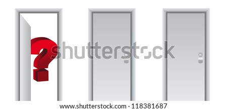 question mark behind a white door illustration design - stock photo